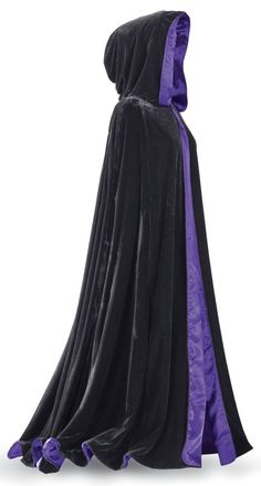 Cloaks Pagan Wicca Witch: Laurie Cabot Reversible Purple Cape. Why convene in the same cape twice? Salem's own Laurie Cabot doubles your choices with this reversible, full-length, hooded cape: one side, rich black velvet; the other, shimmering purple satin---the color of power! Matching, single-button closure.