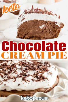 Satisfy your inner chocoholic with this delectable keto chocolate cream pie. This deliciously creamy pie boasts a velvety smooth chocolate filling with a light and fluffy whipped cream topping. It is an excellent dessert to serve your guests since it tastes just like a traditional chocolate pie, thanks to the delightful sugar free chocolate and unsweetened cocoa powder featured in this recipe. | @ketofocus #ketosummerdessert #easyjuly4thketodessert #easyketochocolatepie Keto Dessert Easy, Low Carb Desserts, Low Carb Recipes, Baking Recipes, Cake Recipes, Dessert Recipes, Chocolate Heaven, Chocolate Filling, Sugar Free Chocolate
