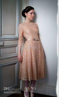 Wholesale Wedding Dress - Buy Vintage Wedding Dress Blushing Tea Length A Line Lace 3/4 Long Sleeve Custom Made, $146.6 | DHgate