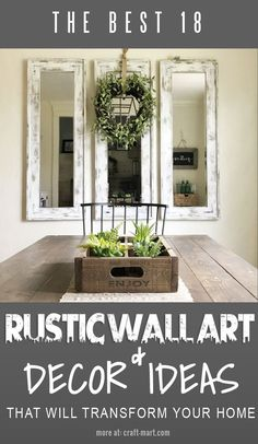 18 Rustic Wall Art & Decor Ideas That Will Transform Your Home - Craft-Mart Rustic Kitchen Wall Decor, Country Wall Decor, Dining Room Wall Decor, Rustic Kitchen Design, Diy Rustic Decor, Farmhouse Wall Decor, Rustic Wall Decor, Rustic Walls, Wall Art Decor