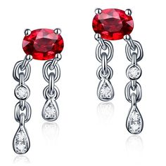 ADRIANA Boucles d'oreilles Rubis et Diamant or