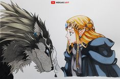 My drawing of Zelda and Wolf Link :)