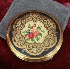 Vintage Floral Petit Point Powder Compact & Mirror Collectors Makeup (ebay)