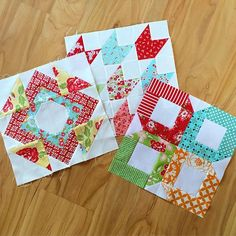 These lovely blocks were sent to me as part of the June round of the #bandcblockexchange. Thank you so much to Jessica, Raquel, and Tammy! They're gorgeous! **July's round is a week away!** #bonnieandcamille
