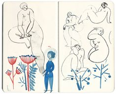 Art Journal by Gosia Herba Sketchbook Drawings, Sketchbook Pages, Illustration Sketches, Drawing Sketches, Art Drawings, Drawing Art, Sketching, Guache, Sketchbook Inspiration