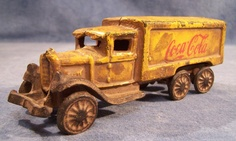 Yellow Coca Cola Die Cast Iron Delivery Truck - Vintage - Antique