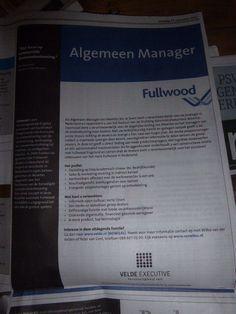 Mooi werk bij Fullwood CIA Velde Groep in De Telegraaf van 27-9-2014