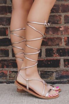 Gold Strappy Lace Up Faux Leather Sandal Athena-947A