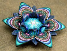 Polymer Clay Large Dimensional Flower Necklace  by ikandiclay