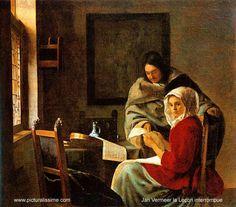VERMEER VAN DELFT Johannes - Dutch (1632 - 1675) ~ the interrupted lesson