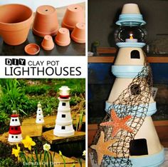 The Clay Pot Lighthouse Directions are easy to follow and we have a video that shows you how to make your own. We have included lots of inspiration.