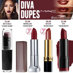 Lipstick dupes 4292562131998742 - MAC Diva Lipstick Dupes Source by Mac Diva Lipstick, Mac Cosmetics Lipstick, Nyx Dupes, Lipstick For Fair Skin, Mac Eyeshadow, Liquid Lipstick, Lipstick Guide, Wine Lipstick, Eyeshadow Ideas