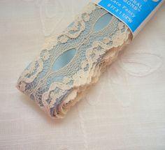 Vintage Offray Blue Lace Trim Ribbon Blue Lace by CalicoCaprice, $1.25