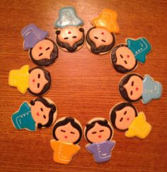 Adorable Japanese cartoon character cookies. Shortbread cutout cookie decorated with royal icing.