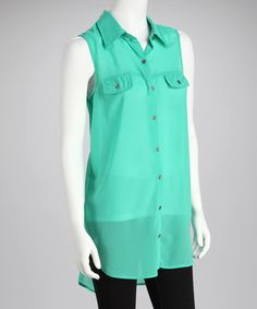 Take a look at this Seafoam Pocket Sleeveless Button-Up by Mix Nouveau on #zulily today!