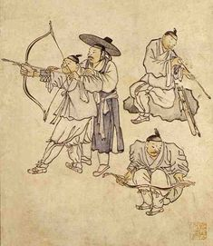 Danwon (Korean: 1745-1806) - Shooting an arrow