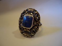 Chunky Blue Sodalite Black MARCASITE Elegant by CollectibleKeepers, $55.00