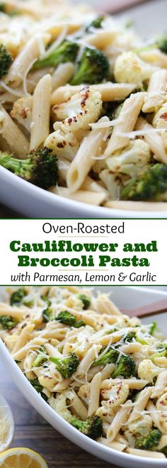 An easy, deeply flavorful pasta recipe featuring roasted cauliflower and broccoli - plus parmesan cheese, garlic and bright lemon juice to round out the salty-umami-tangy symphony of tastes. Deceptively simple: a 30-minute meal with just a few ingredients that add up to surprisingly big, big flavors! And with all the roasted broccoli and cauliflower, it's a quick meal-in-one perfect for busy nights or Meatless Monday! A quick dinner recipe your family will love! | www.twohealthykitchens.com