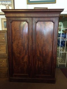 antique flame mahogany gentlemans wardrobe armoire closet antique mahogany armoire