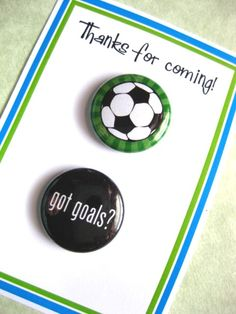 Soccer pins for a party favor - jessejanes.etsy.com
