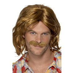 From 7.60 Smiffy's 70's Super Trouper Wig And Moustache - Brown