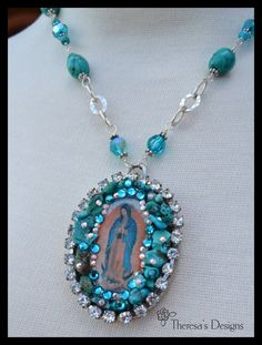 Items similar to Our Lady of Guadalupe Necklace Turquoise Sterling Silver on Etsy Jewelry Crafts, Jewelry Bracelets, Jewelry Ideas, Dangle Belly Rings, Catholic Jewelry, Women Jewelry, Unique Jewelry, Our Lady, Turquoise Jewelry