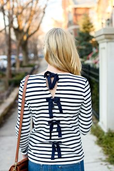 Striped Bow Top - Kelly in the City