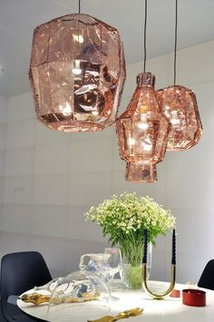 Rose gold inspiration for home decor, fashion and beauty from Mint & Lovely Studios. Rose Gold Lamp, Rose Gold Lights, Copper Decor, Copper Lamps, Copper Lighting, Gold Lamps, Industrial Lighting, Interior Lighting, Gold Bedroom