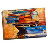 Found it at Wayfair - Boat Boats and Sunsets Colorful Painting Print on Wrapped Canvas