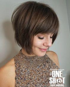 Cute Bob Haircuts, Cute Bob Hairstyles, Bob Haircut With Bangs, Short Hair With Bangs, Short Hairstyles For Women, Full Bangs, Front Bangs, Brunette Bob With Bangs, Fringe Bob Haircut