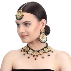 Buy online Necklace Set - Gold & green necklace, earring & maangtika set from Indian August Green Necklace, Necklace Set, Fashion Jewelry Stores, Fashion Jewellery, Kundan Jewellery Set, Jewelry Sets, Women Jewelry, Drop Earrings, Jewels