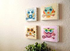SALE - Paper Owls Series Wood Art Blocks Set of 4  Made by Sandra Vargas, Now $30.00