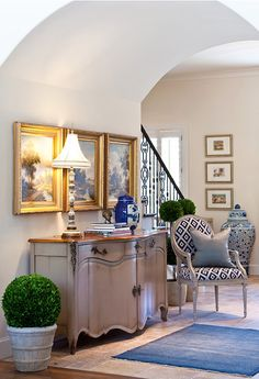 entryway! Love the french blue cupboard!