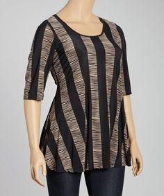 Look what I found on #zulily! Khaki & Black Stripe Scoop Neck Top - Plus by 24/7 #zulilyfinds