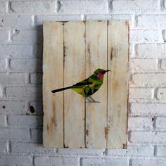 Burung Geometri.  Spray stencil on wood. 40 x 60 x 2 cm  #woodsign #homedecoration #homeandliving #vintage #alldecos #geometric #littlebird