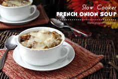 Easy Slow Cooker French Onion Soup Recipe, throw it all in your crock pot and forget about it!