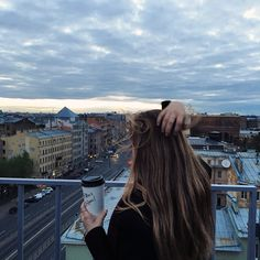 #sunrise #morning #girl #sky #rooftop #coffee