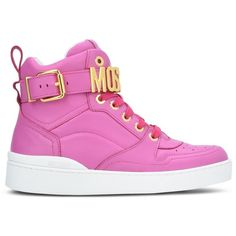 Moschino Sneakers ($490) ❤ liked on Polyvore featuring shoes, sneakers, fuchsia, round toe shoes, fuschia shoes, strap shoes, round cap and fuchsia shoes