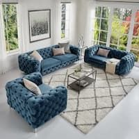 Corvus Aosta Tufted Velvet Loveseat And Sofa Living Room Chesterfield Set pertaining to Amazing Couch Set for Living Room - Home Design Ideas Living Room Sofa Design, Living Room Sets, Living Room Furniture, Living Room Designs, Living Room Decor, Sofa Futon, Sectional Sofas, Curved Sectional, Sleeper Sofas