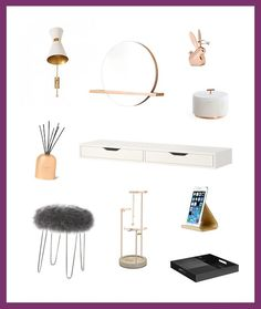 3 Insta-Worthy Ways to Decorate Your Vanity via Brit & Co featuring the Tesora Jewelry Stand and Bunny Anigram Ring Holder in copper. Jewelry Tree, Jewelry Stand, Jewellery Storage, Jewelry Organization, Geometric Wall, Geometric Patterns, Be A Nice Human, Beautiful Wall, Dream Rooms