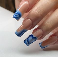 Edgy Nails, Funky Nails, Stylish Nails, Edgy Nail Art, Grunge Nails, Blue Acrylic Nails, Simple Acrylic Nails, Acrylic Nails Designs Short, Blue Gel Nails