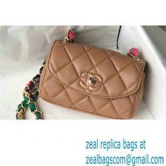 Chanel Lambskin Mixed Fibers Small Flap Bag AS2369 Caramel 2021