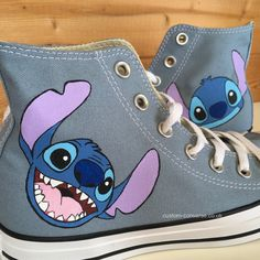 Stitch faces high top converse High top converse hand painted with large stitch faces Custom Painted Shoes, Painted Canvas Shoes, Hand Painted Shoes, Painted Converse, Painted Sneakers, Custom Converse Shoes, Custom Shoes, Women's Converse, High Top Sneakers