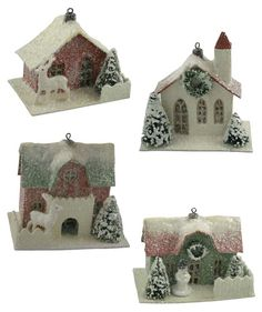 Putz Christmas House Ornaments | Small Christmas Putz Houses