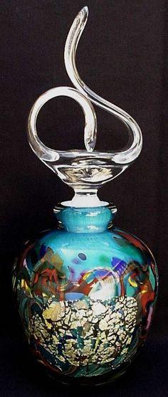 Artist Signed Olivier Mallemouche Studio Cased Art Glass Perfume Scent Bottle
