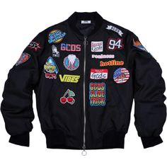 PATCHES BOMBER JACKET BLACK (406,825 KRW) ❤ liked on Polyvore featuring outerwear, jackets, tops, bomber, multi color jacket, multi colored jacket, colorful jackets, flight jacket and blouson jacket