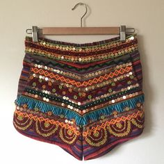 *Raga Sequin and Bead Shorts. NWT!* ...amazing sequined and beaded multicolor shorts by Raga, size small.  Be a street style star!  (Missing a few sequins at top right waistband as seen in photo 3). SOLD OUT AT RETAILERS. Never worn.  NWT!  ***Perfect for Coachella and festival season!!!*** Anthropologie Shorts
