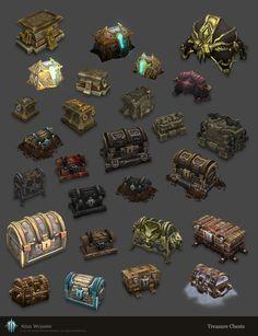 Diablo 3 Chests, Neal Wojahn on ArtStation at… Game Design, Prop Design, 3d Fantasy, Fantasy Landscape, Level Design, Game Props, Game Concept Art, Game Item, Game Assets