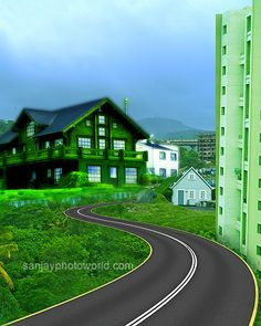 New psd studio background with road house green nature city look hills