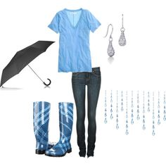 "Oh oh oh! I SO need a ""HAPPY"" rainy-day outfit like this!!!  {Of course - I'm not spending 225 on a pair of rain boots - but I'm sure I could find something just as cute and a LOT cheaper!! Lol}"